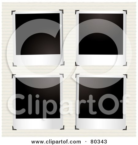 Royalty-Free (RF) Clipart Illustration of Four Blank Polaroid Pictures With Corner Clasps On Ruled Pape by michaeltravers
