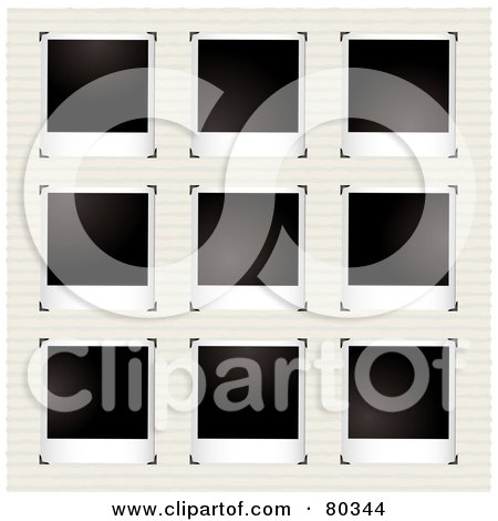 Royalty-Free (RF) Clipart Illustration of Nine Blank Polaroid Pictures With Corner Clasps On Ruled Pape by michaeltravers