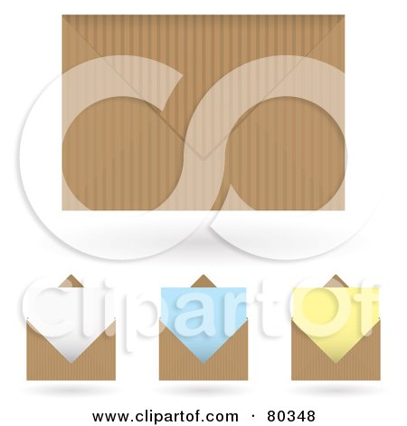 Royalty-Free (RF) Clipart Illustration of a Digital Collage Of Brown Envelopes And Colored Stationery Letter Papers by michaeltravers