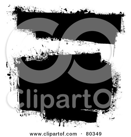 Royalty-Free (RF) Clipart Illustration of a Digital Collage Of Grungy Black Ink Splattered Text Boxes by michaeltravers