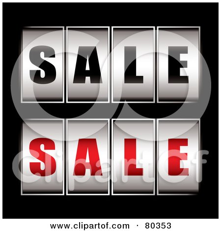 Royalty-Free (RF) Clipart Illustration of a Digital Collage Of Black And Red Sale Dials On Black by michaeltravers