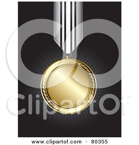 Royalty-Free (RF) Clipart Illustration of a Shiny Gold Medal On A Black Background With Rays by TA Images