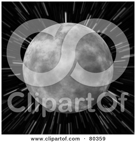 Royalty-Free (RF) Clipart Illustration of The Moon Over A Blurred Star Field Background On Black by Arena Creative
