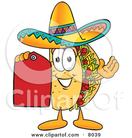 Royalty-free food clipart illustration of a taco mascot cartoon character