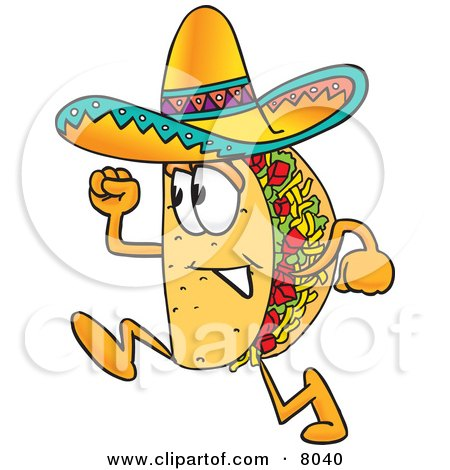 Clipart Picture of a Taco Mascot Cartoon Character Running by Toons4Biz