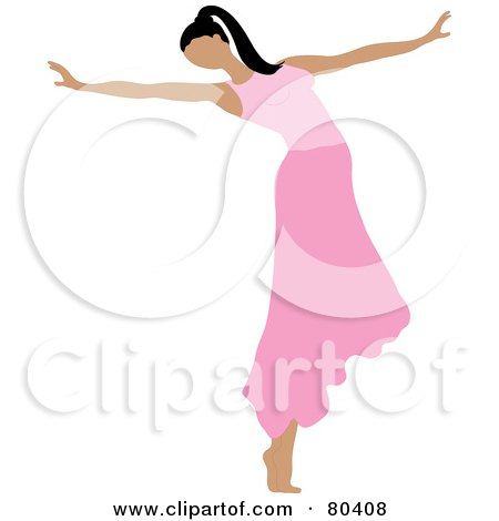 Royalty-Free (RF) Clipart Illustration of a Graceful Ballerina Dancing In A Pink Skirt by Pams Clipart