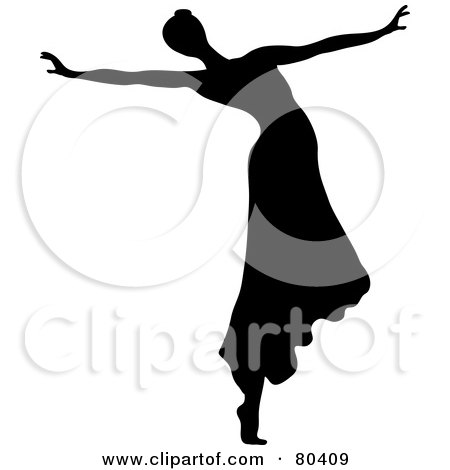 Royalty-Free (RF) Clipart Illustration of a Black Silhouette Of A Female Ballerina Wearing Her Hair In A Bun And Dancing In A Skirt by Pams Clipart
