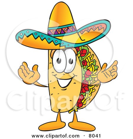 Clipart Picture of a Taco Mascot Cartoon Character With Welcoming Open Arms by Toons4Biz