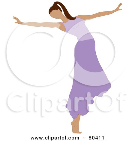 Royalty-Free (RF) Clipart Illustration of a Graceful Ballerina Dancing In A Purple Skirt by Pams Clipart