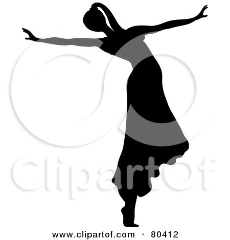 Royalty-Free (RF) Clipart Illustration of a Black Silhouette Of A Female Ballerina Wearing Her Hair In A Pony Tail And Dancing In A Skirt by Pams Clipart