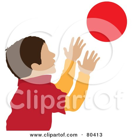 Free rf clipart illustration of a hispanic boy catching a ball