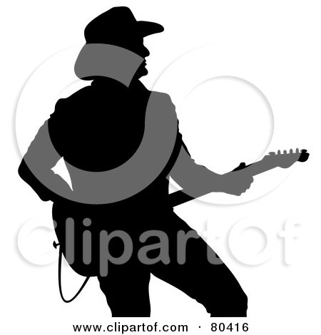 Royalty-Free (RF) Clipart Illustration of a Black Silhouette Of A Country Western Music Guitarist by Pams Clipart
