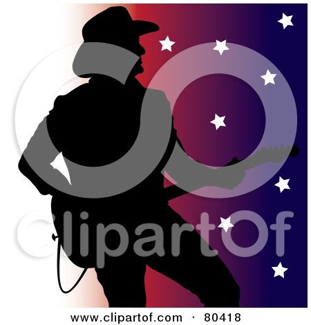 Royalty-Free (RF) Clipart Illustration of a Silhouette Of A Country Western Music Guitarist On A White To Colorful Star Background by Pams Clipart