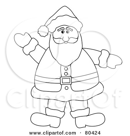 Royalty-Free (RF) Clipart Illustration of a Black And White Outline Of A Waving Friendly Fat Santa by Pams Clipart