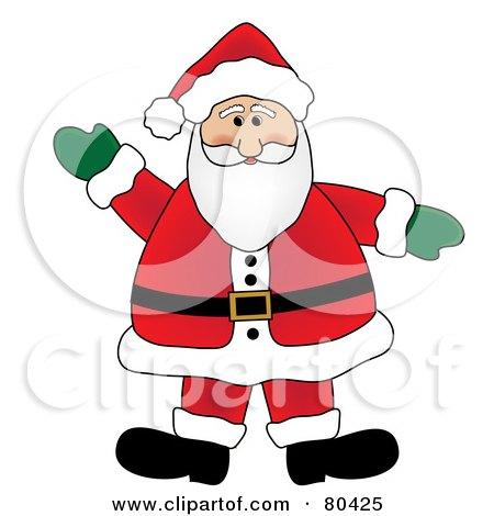 Royalty-Free (RF) Clipart Illustration of a Waving Friendly Fat Santa by Pams Clipart