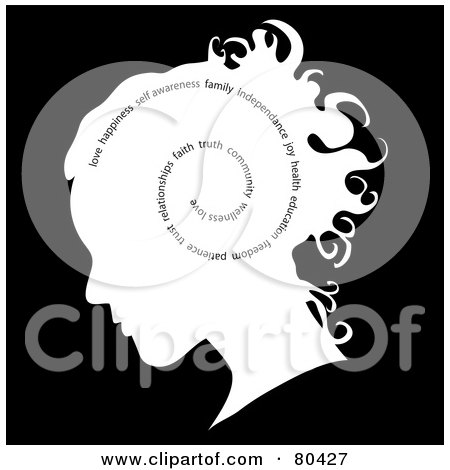 Royalty-Free (RF) Clipart Illustration of a Profiled Woman's Head With Words Spiraling On Black by Pams Clipart