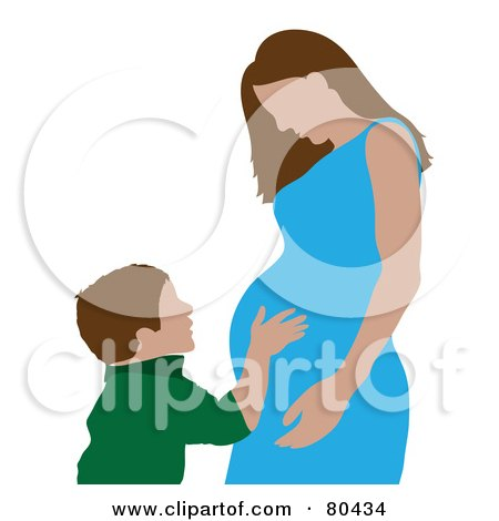 Royalty-Free (RF) Clipart Illustration of a Caucasian Boy Hugging His Pregnant Mom by Pams Clipart