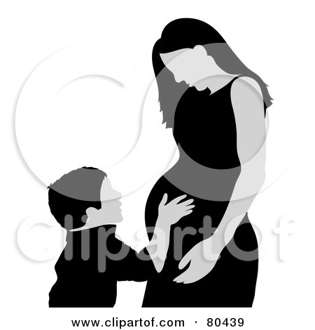 Royalty-Free (RF) Clipart Illustration of a Gray And Black Boy Touching His Pregnant Mom by Pams Clipart
