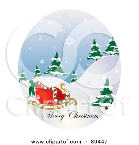 Oval Scene Of Santa's Sleigh With Merry Christmas Text On A Snowy Day