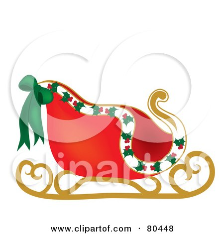 Royalty-Free (RF) Clipart Illustration of a Red Santa Sleigh With ...
