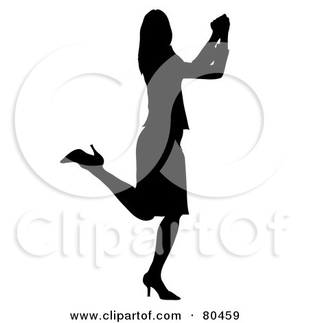 Royalty-Free (RF) Clipart Illustration of a Black Silhouette Of A Happy Businesswoman Kicking Up Her Heels And Doing A Happy Dance by Pams Clipart