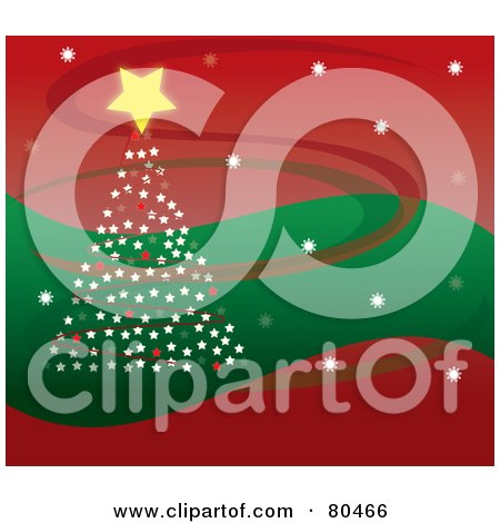 Royalty-Free (RF) Clipart Illustration of a Starry Christmas Tree On A Wavy Green And Red Background With Swooshes by Pams Clipart