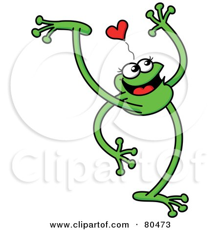 Royalty-Free (RF) Clipart Illustration of a Leggy Green Frog Walking Under A Heart by Zooco