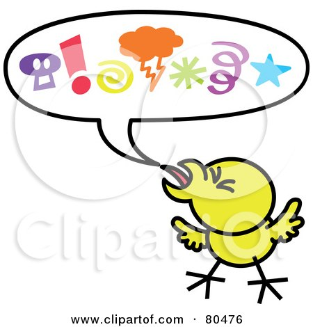 Royalty-Free (RF) Clipart Illustration of a Yellow Chicken With Mad Symbols In A Word Balloon by Zooco