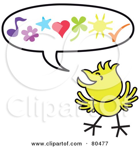 Royalty-Free (RF) Clipart Illustration of a Yellow Chicken With Happy Symbols In A Word Balloon by Zooco