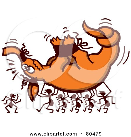 Royalty-Free (RF) Clipart Illustration of Ants Carrying A Tied Up Aardvark by Zooco