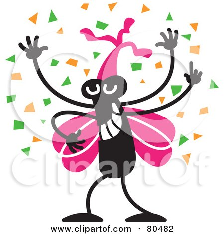 Royalty-Free (RF) Clipart Illustration of a Happy Black Bug With Pink Wings, Wearing A Party Hat And Dancing In Confetti by Zooco