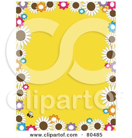 Royalty-Free (RF) Clipart Illustration of a Yellow Background Bordered In Daisy Flowers And A Bee by Maria Bell