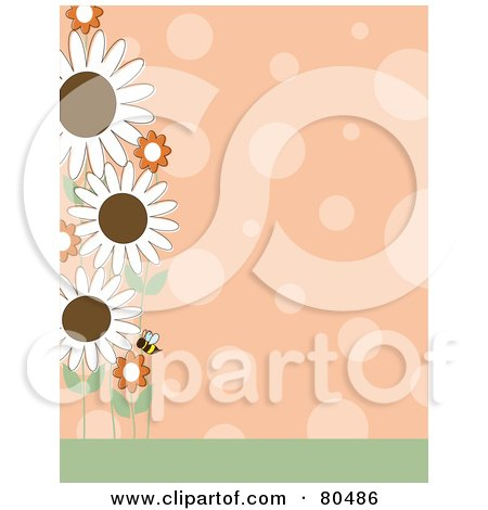 Royalty-Free (RF) Clipart Illustration of an Orange Polka Dot Background With A Left Border Of A Bee And Flowers by Maria Bell