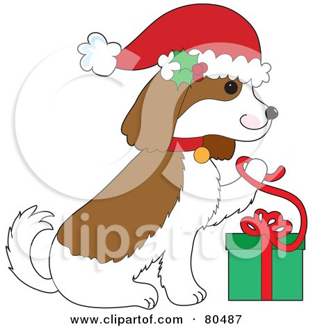 Royalty-Free (RF) Clipart Illustration of a Christmas Cavalier King Charles Spaniel Opening A Present by Maria Bell