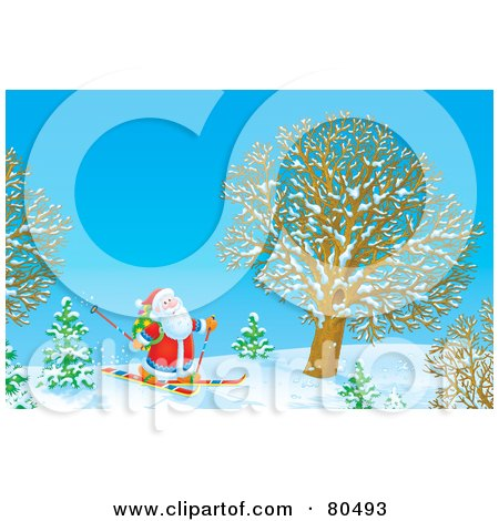Royalty-Free (RF) Clipart Illustration of Santa Skiing By A Tree In Winter by Alex Bannykh