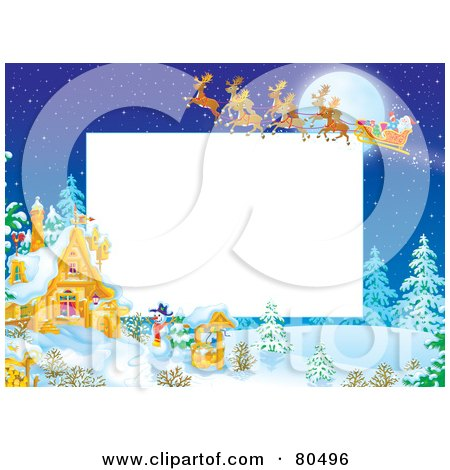 Royalty-Free (RF) Clipart Illustration of a Team Of Magic Reindeer Flying Santa Over A Winter Cottage During The Night, With Copyspace by Alex Bannykh