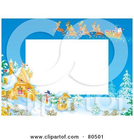 Royalty-Free (RF) Clipart Illustration of a Team Of Magic Reindeer Flying Santa Over A Winter Cottage During The Day, With Copyspace by Alex Bannykh