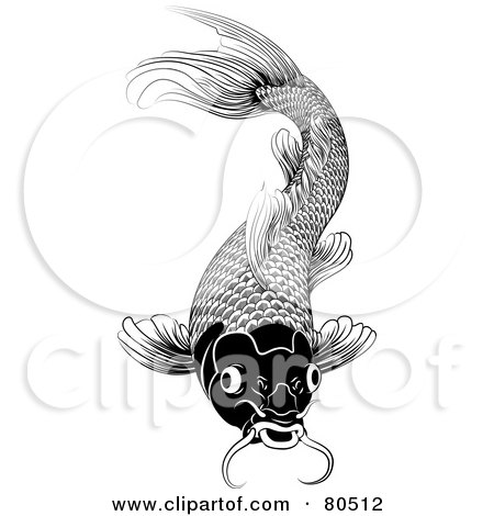 Royalty-Free (RF) Clipart Illustration of a Black And White Oriental Styled Koi Fish by AtStockIllustration