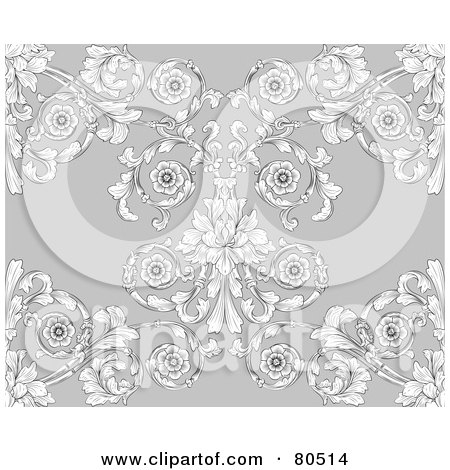 Royalty-Free (RF) Clipart Illustration of a Gray Victorian Floral Styled Seamless Background by AtStockIllustration
