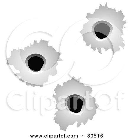 Royalty-Free (RF) Clipart Illustration of a Background Of Three Bullet Holes On White by tdoes