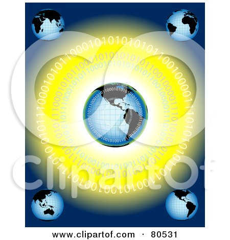 Royalty-Free (RF) Clipart Illustration of a Blue Backgrounds With Five Globes And Binary Code On Yellow by tdoes