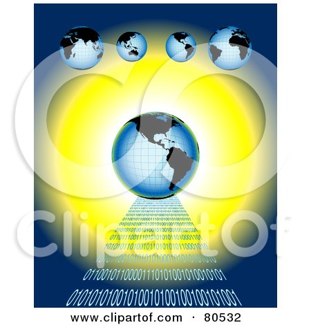 Royalty-Free (RF) Clipart Illustration of a Blue Globe On A Road Of Binary Code, Over Blue And Yellow Under Smaller Globes by tdoes