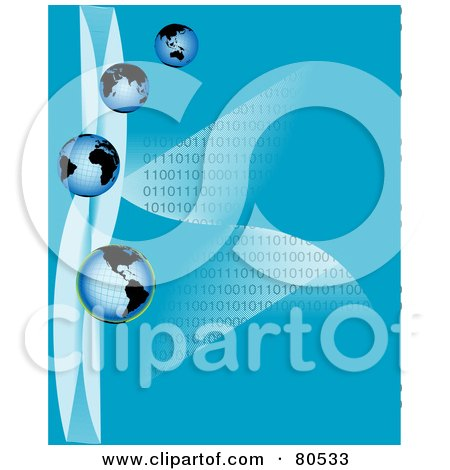 Royalty-Free (RF) Clipart Illustration of Four Blue Globes With Waves And Lines Of Binary Code On Blue by tdoes