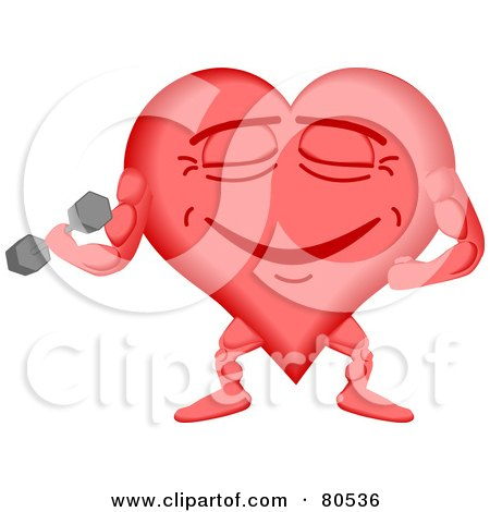 Royalty-Free (RF) Clipart Illustration of a Healthy Heart Face Lifting Weights by tdoes