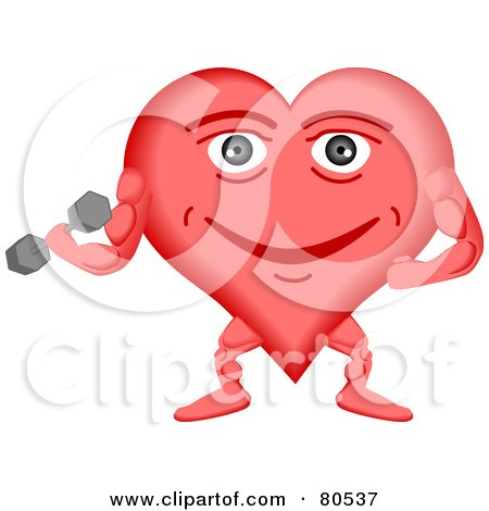 Royalty-Free (RF) Clipart Illustration of a Healthy Heart Face Weightlifting by tdoes