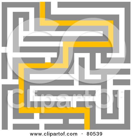 Royalty-Free (RF) Clipart Illustration of a Yellow Path Leading Through A Maze - Version 2 by tdoes