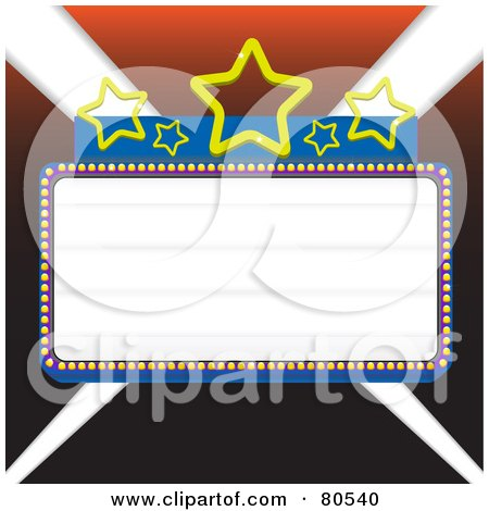 Royalty-Free (RF) Clipart Illustration of a Blank Marquee Sign With Blue Borders And Stars, Over Lights - Version 2 by tdoes