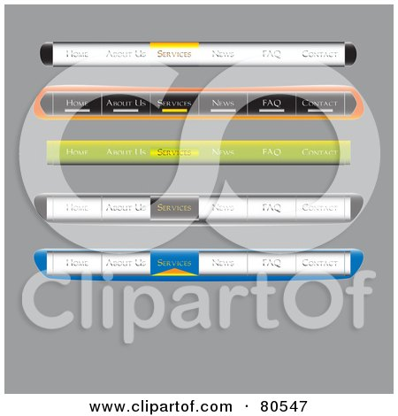Royalty-Free (RF) Clipart Illustration of a Digital Collage Of Website Tab Menu Bars On Gray by tdoes