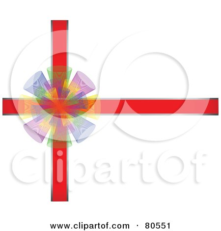 Royalty-Free (RF) Clipart Illustration of a Colorful Bow Over Red Ribbons by tdoes