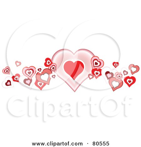 Royalty-Free (RF) Clipart Illustration of a Pink And Red Heart Wave Border On White by tdoes